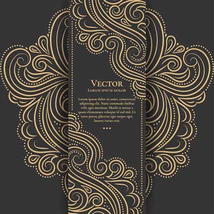 Gold and black vintage invitation card. Good for flyer, menu, brochure. Luxury ornament.