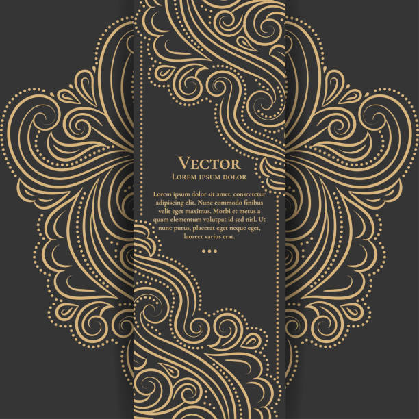 Gold and black vintage invitation card. Good for flyer, menu, brochure. Luxury ornament. Can be used for background, wallpaper, decoration or any desired idea. grace stock illustrations