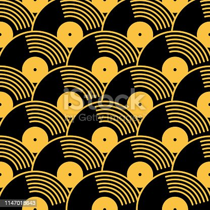 istock Gold And Black Vinyl Records Seamless Pattern 1147018643