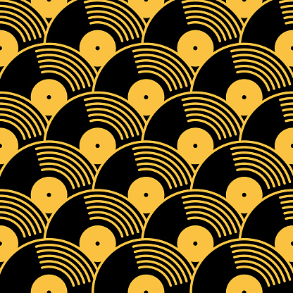 Gold And Black Vinyl Records Seamless Pattern