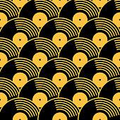 Vector seamless pattern of gold and black vinyl records.