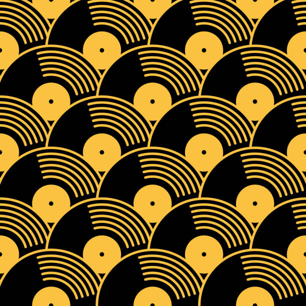 Gold And Black Vinyl Records Seamless Pattern Vector seamless pattern of gold and black vinyl records. music stock illustrations