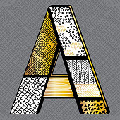 Gold and Black zentangle doodle art sketch drawing Alphabet A