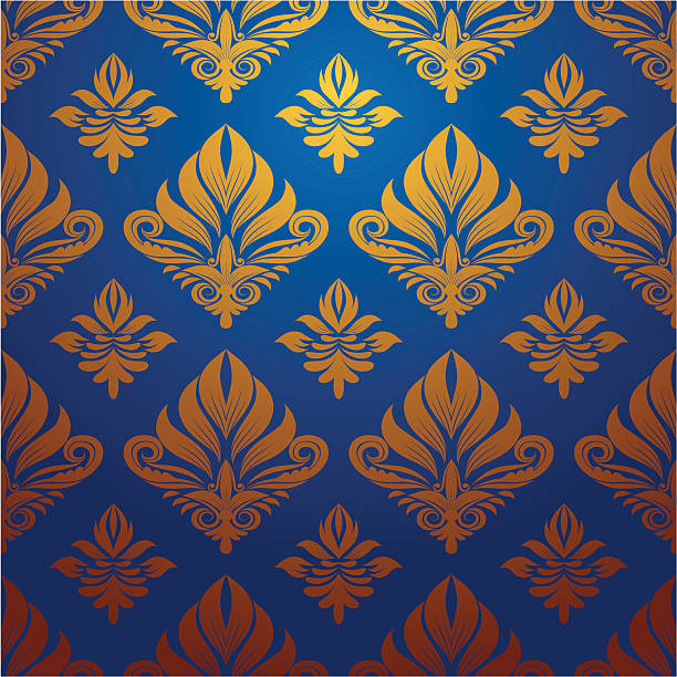 Gold and Blue Decorative Pattern vector art illustration
