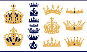 Gold and blue navy crowns set. Prince and king crown collection. Isolated vector vintage silhouette.