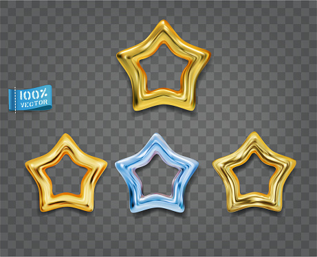 Gold and blue  stars isolated on gray background. Vector set. Elements for decorative decoration of festive layouts. Premium gold icons