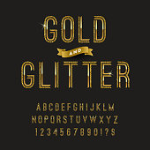 Gold and glitter typeface. Vector golden font design, alphabet, typeface, letters and numbers.  Vector illustration.