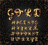 Gold and Glossy shining font. Golden ribbon. Alphabet letters. English script lowercase, uppercase. 3d alphabets set. Elements design.Strips folding abc. Vector illustration.
