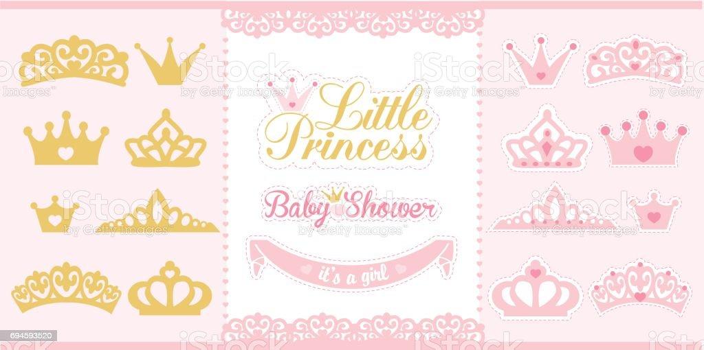Gold and pink crowns set. Little princess design elements. vector art illustration