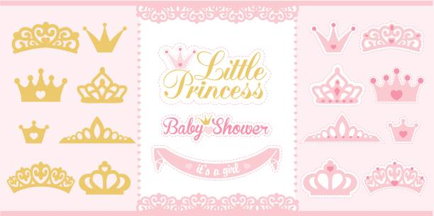 Gold and pink crowns set. Little princess design elements. Template silhouettes of crowns for laser cutting. Birthday party and girl baby shower decor. it's a girl stock illustrations