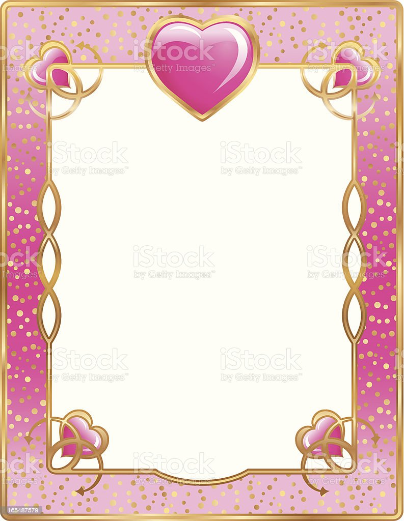 Gold and Pink Heart Frame royalty-free stock vector art