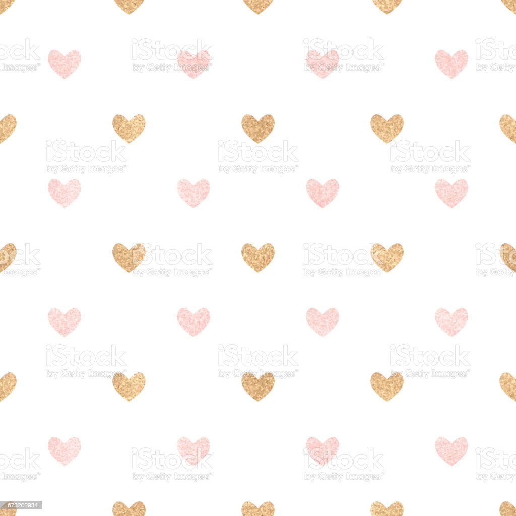 Gold and pink hearts on a white backdrop. vector art illustration