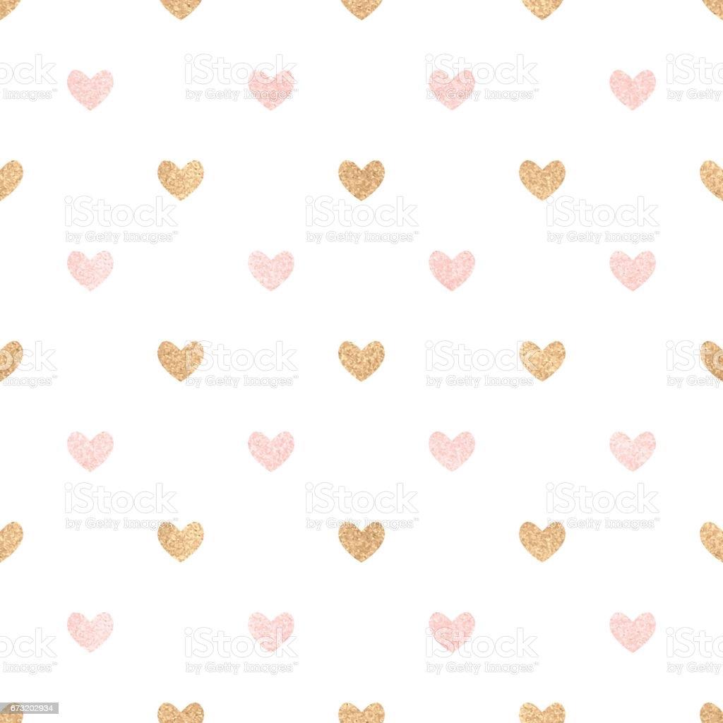Coeurs roses et or sur un fond blanc. - Illustration vectorielle