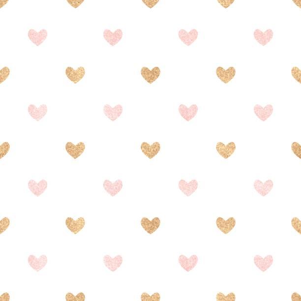 gold und rosa herzen auf einem weißen hintergrund. - niedliche hintergründe stock-grafiken, -clipart, -cartoons und -symbole