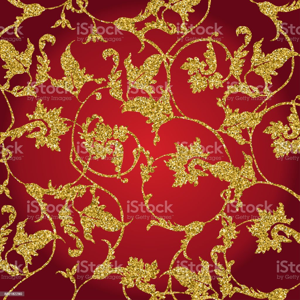 Gold And Red Floral Background Golden Invitation Brochure Or