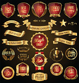 Gold and red retro sale badges and labels vector collection