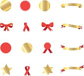 Gold and red Ribbon banners set vector illustration. Gold ribbon banners isolated on white background. Ribbon labels and bow tie, gold stars, ribbon symbol, medal icon set. Christmas decoration and award symbols collection.