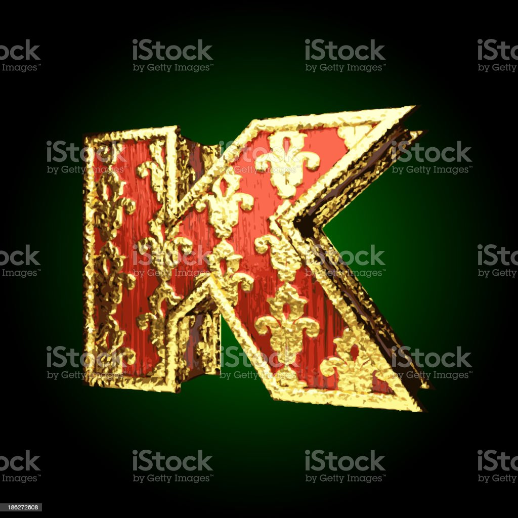 Gold and Red Wood Figure k royalty-free gold and red wood figure k stock vector art & more images of alphabet