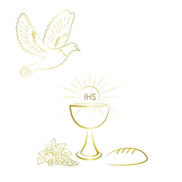 gold and shiny first communion symbols. - communion stock illustrations, clip art, cartoons, & icons