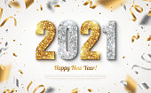 Happy New Year Banner with Gold and Silver 2021 Numbers on Bright Background with Flying Confetti and Streamers. Vector illustration