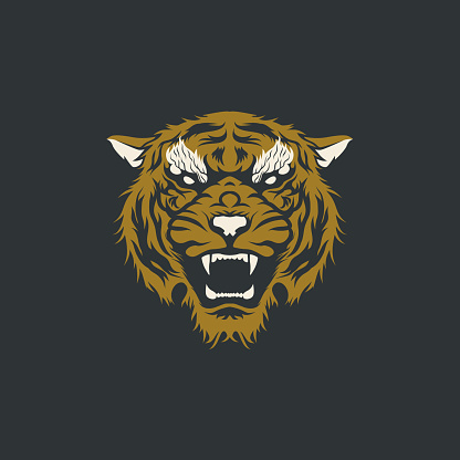 Gold And Silver Angry Tiger Head Apparel Tattoo T-shirt Design Illustration