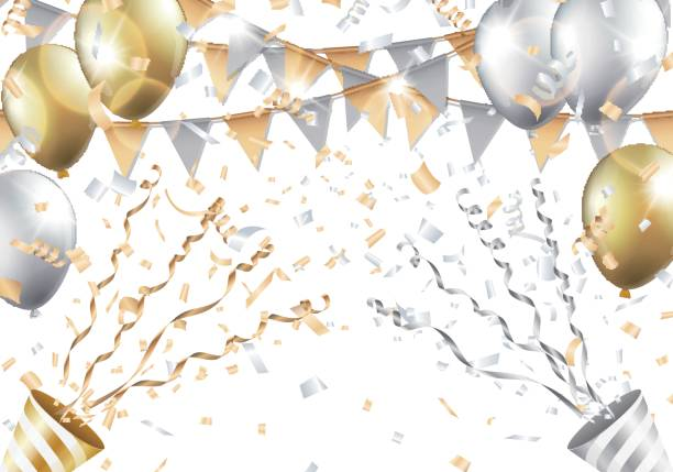 Gold and silver balloons, confetti, flag and party popper on white background. Vector illustration. vector art illustration