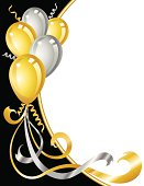 Gold and Silver Balloons on a Black Border