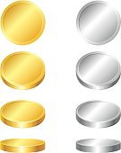 Gold and silver coins collection.