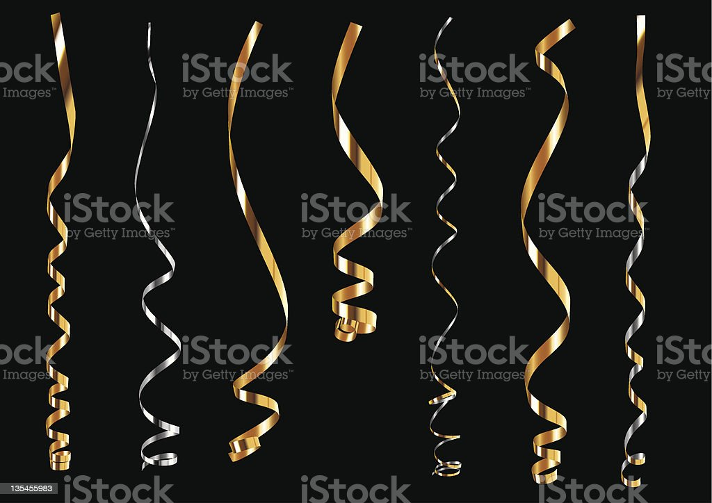 Gold and silver curling ribbons vector art illustration