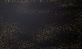 Gold and silver halftone black background. Vector golden glitter circle with dotted sparkles or halftone shine pattern texture