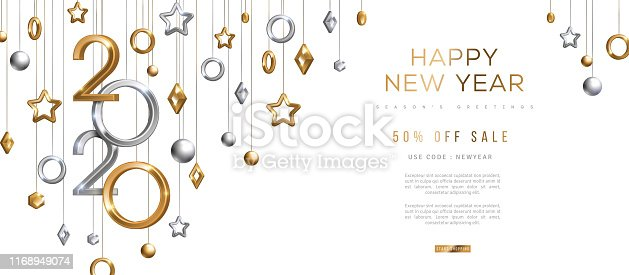 Christmas and New Year banner with hanging gold and silver 3d baubles and 2020 numbers on black background. Vector illustration. Winter holiday geometric decorations
