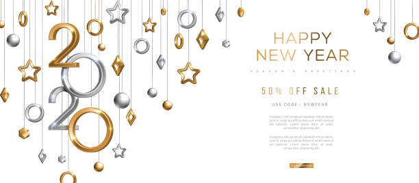 gold and silver new year 2020 - new years stock illustrations
