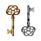 Gold and silver realistic vintage isolated keys