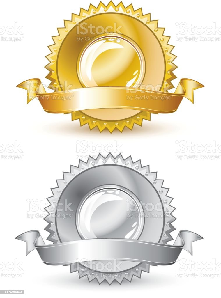 Gold and silver seal royalty-free gold and silver seal stock vector art & more images of award