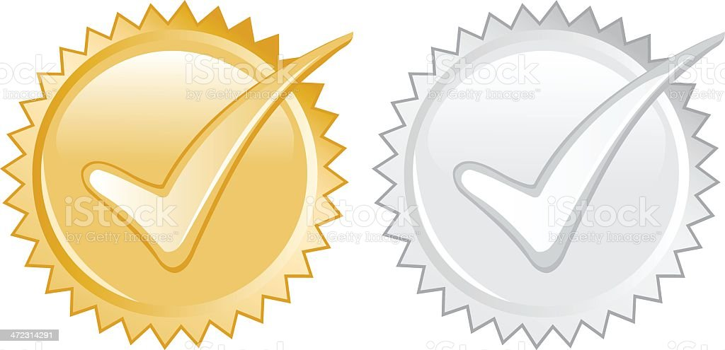 Gold and Silver Seals royalty-free stock vector art