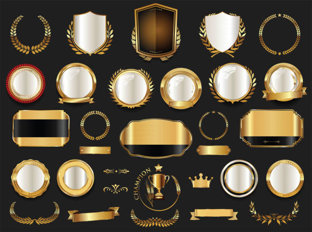 Gold and silver shields laurel wreaths and badges collection vector art illustration