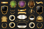 Gold and silver shields laurel wreaths and badges collection