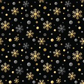 Gold and silver snowflakes seamless pattern.