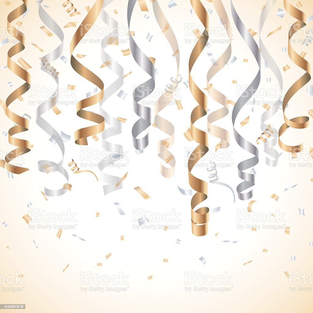 Gold and silver streamer with confetti background vector art illustration