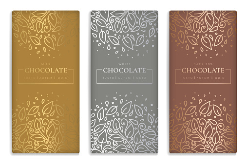Gold and silver vintage set of chocolate bar packaging design. Vector luxury template with ornament elements. Can be used for background and wallpaper. Great for food and drink package types.