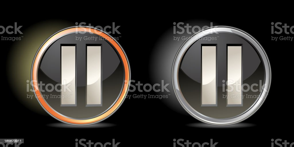 Gold and silver web button - Pause royalty-free stock vector art