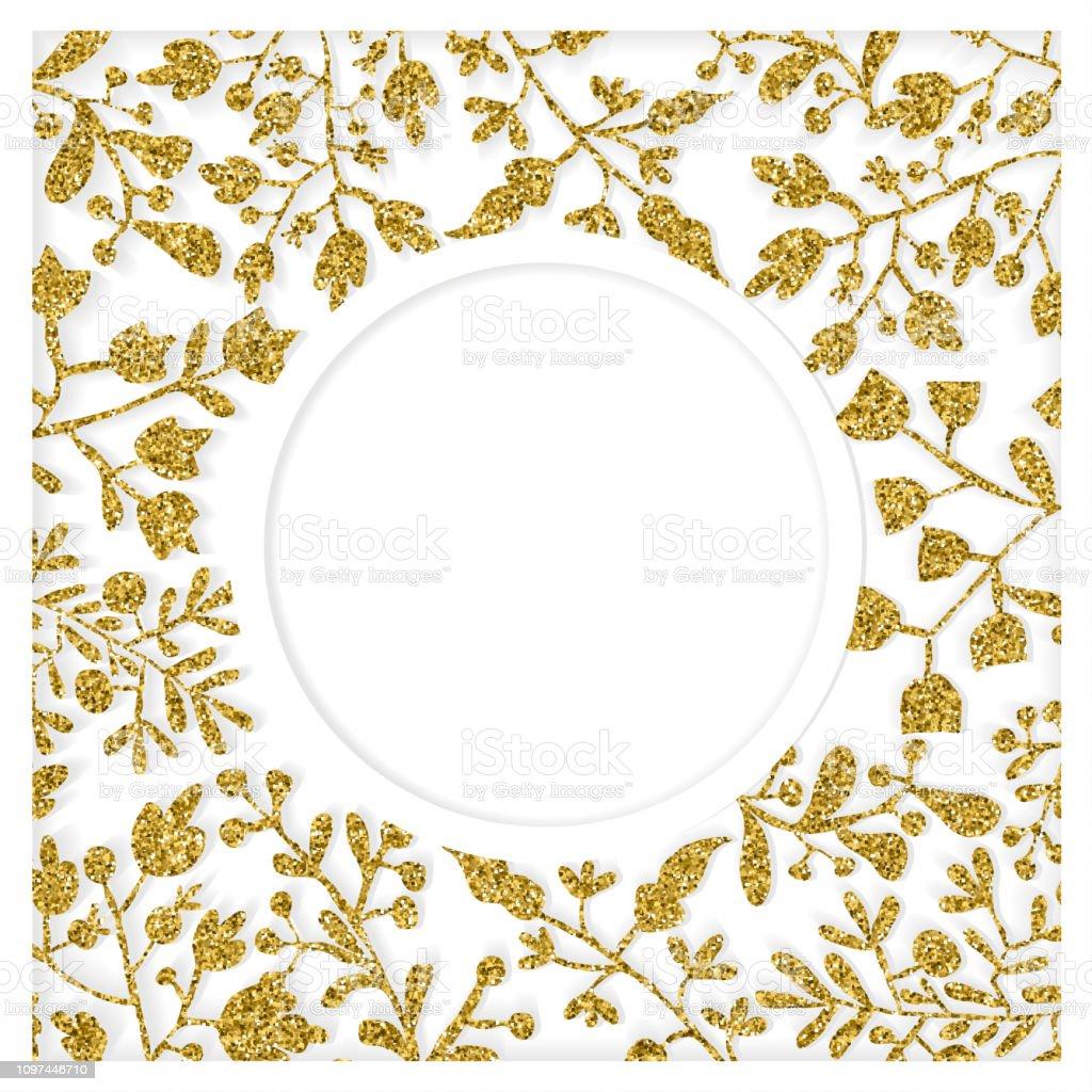 Ilustración De Oro Y Blanco Papel Cortado Arte Floral Con