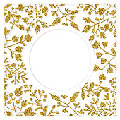 Gold and white floral paper-cut art with shadow. Elegant frame for greeting cards (birthday, valentine's day), wedding and engagement invitation card template.