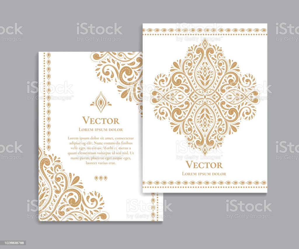 Gold and white vintage invitation card. Good for flyer, menu, brochure. Luxury ornament.