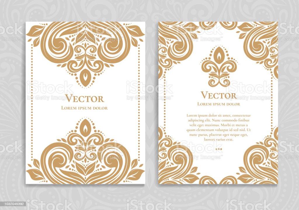 Ilustración De Tarjeta De Invitación Vintage Oro Y Blanco