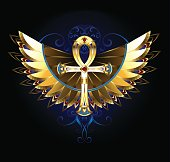 Gold Ankh with wings
