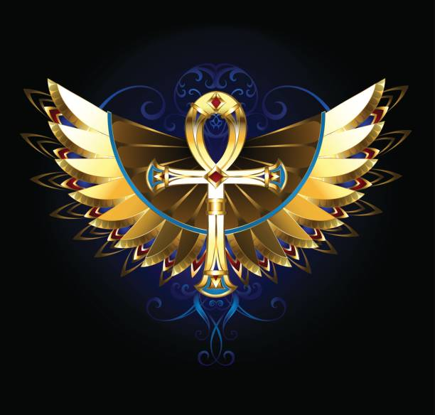 Gold Ankh with wings vector art illustration