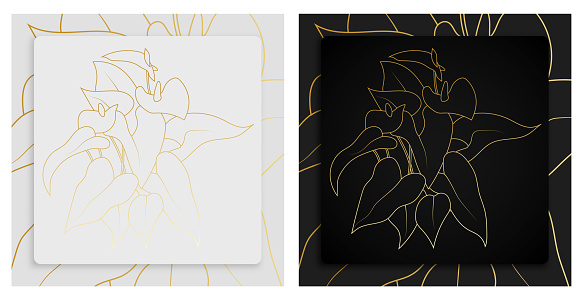 Gold anthurium. Abstract painting in frame for decor of interior. Heart shaped flowers with leaves. Plants in batanic garden. Vector on white