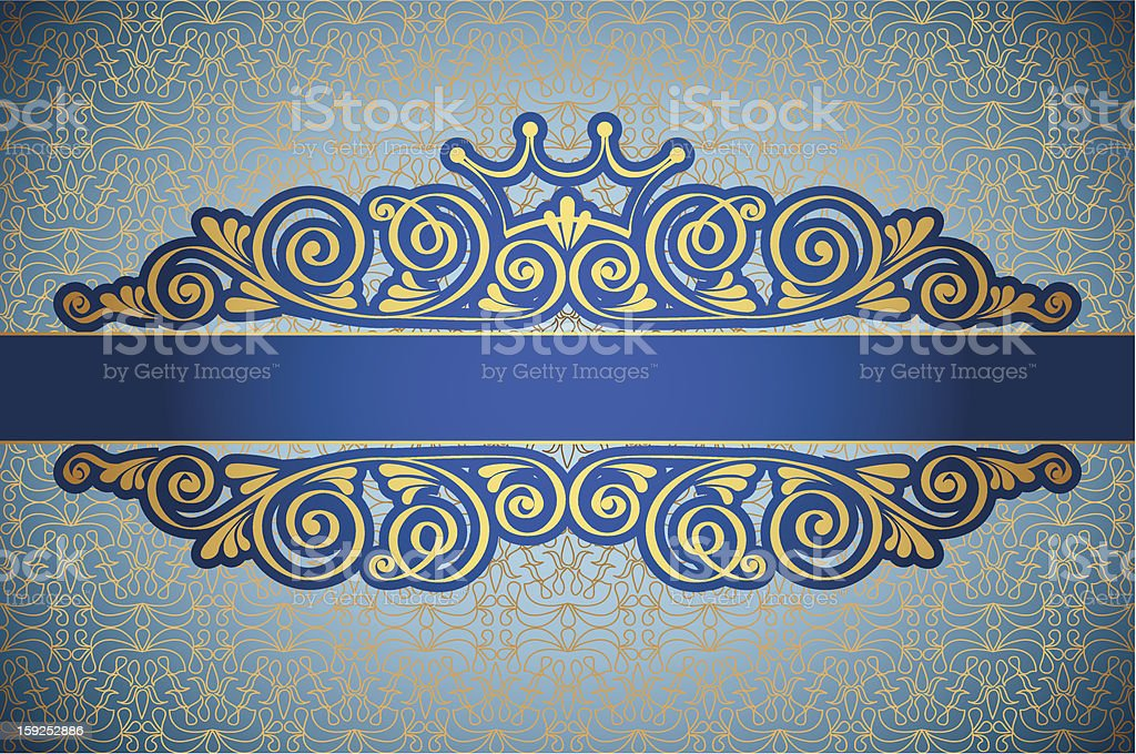 Gold antique frame on blue decorative ornament royalty-free stock vector art