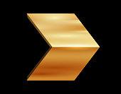 three dimensional shiny golden arrow design element